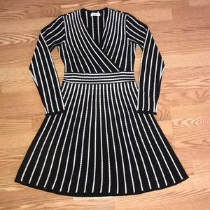 Calvin Klein Black/White Striped Dress Long Sleeve
